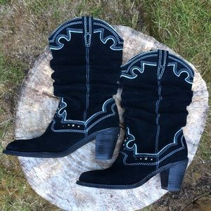Gorgeous embellished black suede mid-calf boots.